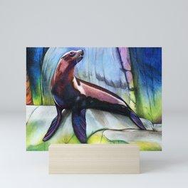 Sea lion, pastel pencil, 9inx12in Mini Art Print