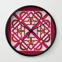 Interlaced Love Mandala - Wine Rose Wall Clock