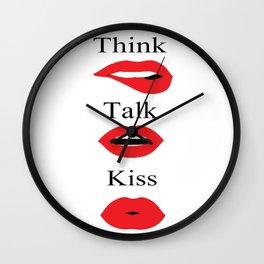 Red lipstick lips makeup, three monkeys fashion illustration  Wall Clock