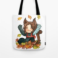 bucky Tote Bags featuring fall - bucky by cynamon