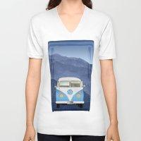 volkswagen V-neck T-shirts featuring Volkswagen Bus by Aquamarine Studio