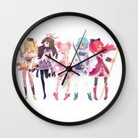 madoka Wall Clocks featuring Madoka by sarlisart