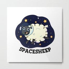 Space Sheep Cute Spaceship Pun Metal Print