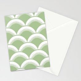 Japanese Fan Pattern Sage Green Stationery Cards