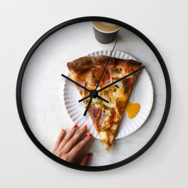 pizza for breakfast Wall Clock
