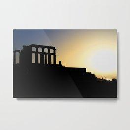 Ancient Greek temple of Poseidon at Cape Sounion , Athens Greece  Metal Print