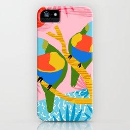 Besties - retro throwback memphis bird art pattern bright neon pop art abstract 1980s 80s style mini iPhone Case
