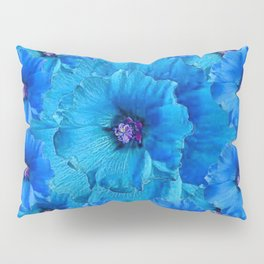 GORGEOUS BLUE FLOWERS  PATTERN ABSTRACT GREY ART Pillow Sham