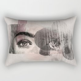 """collage / illustration of woman's eyes with orchid, charcoal and photography """"orchid look"""" Rectangular Pillow"""
