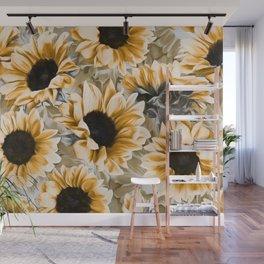 Dreamy Autumn Sunflowers Wall Mural