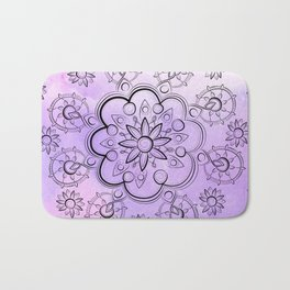 FLORAL INDIE WATERCOLOR MANDALA Bath Mat