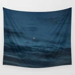 Morning Moonrise: Crescent in the Clouds Wall Tapestry