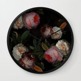 Jan Davidsz. de Heem Vintage Botanical Midnight Rose Garden Wall Clock