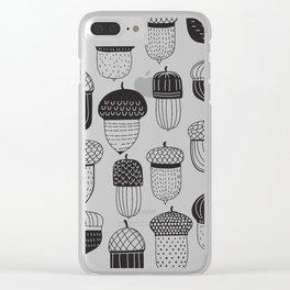 Doodle acorns autumn pattern Clear iPhone Case