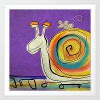 Mouse traveller in zen mode Art Print