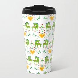 Green horses in love Metal Travel Mug