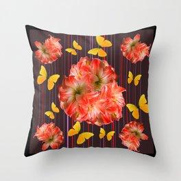 Decorative yellow Butterflies Pink Flowers Puce Throw Pillow