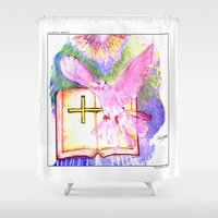 bible verse Shower Curtains featuring THE HOLY BIBLE by KEVIN CURTIS BARR'S ART OF FAMOUS FACES