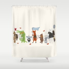 lets all go exploring Shower Curtain