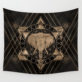 Elephant in Sacred Geometry Composition - Black and Gold Wall Tapestry
