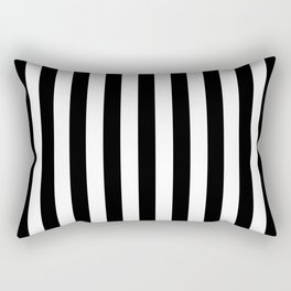 Midnight Black and White Vertical Beach Hut Stripes Rectangular Pillow