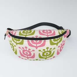Retro Flower Pattern Pink Chartreuse Fanny Pack