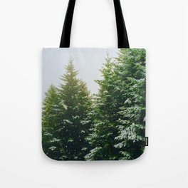 Winter Pine Tree Forest (Color) Tote Bag