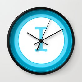 Blue letter I Wall Clock