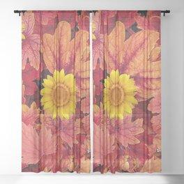 ABSTRACT GARDEN LEAVES & SUNFLOWERS ART Sheer Curtain
