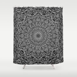 Most Detailed Mandala! Black and White Color Intricate Detail Ethnic Mandalas Zentangle Maze Pattern Shower Curtain