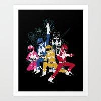 power rangers Art Prints featuring power glove rangers by Louis Roskosch