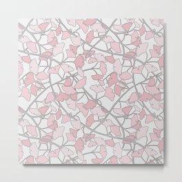 Ginkgo Leaves in Light Pinks Metal Print