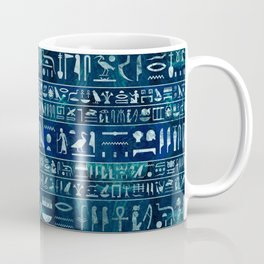 Egyptian hieroglyphs -silver on blue painted texture Coffee Mug