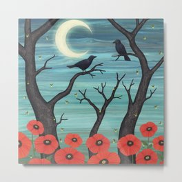 crows, fireflies, and poppies in the moonlight Metal Print