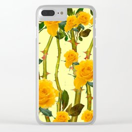 GOLDEN ROSES & THORNY CANES ON  YELLOW Clear iPhone Case