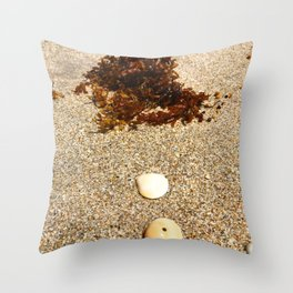 Sea Shells Sea Weed by the Sea Shore Throw Pillow