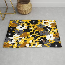 SUNFLOWER TOILE YELLOW GOLD BLACK GRAY AND WHITE Rug
