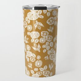 Bee Garden - linocut art, mustard, yellow, garden floral, home decor, bees, florals, flowers print Travel Mug