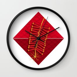 Firecrackers Vietnamese Lunar New Year Phao Tet Holiday Wall Clock