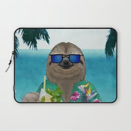 Sloth on summer holidays drinking a mojito Laptop Sleeve