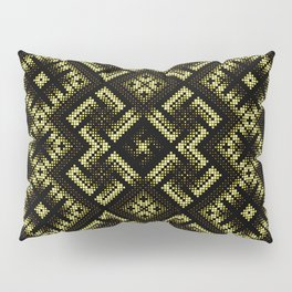 Fiery ancient ornament. Old Nordic embroidery in a psychedelic modern style Pillow Sham