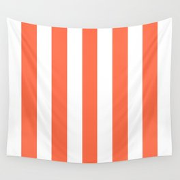 Outrageous Orange - solid color - white vertical lines pattern Wall Tapestry