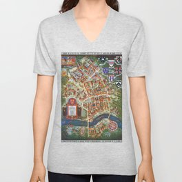 HARVARD University map MASSACHUSETTS Unisex V-Neck