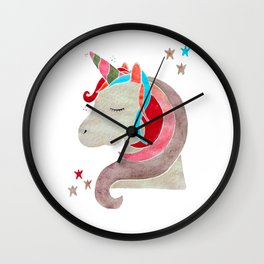 MAGICAL DREAMING UNICORN - RED PALETTE Wall Clock