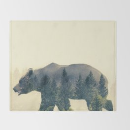 Bear - Double Exposure Throw Blanket