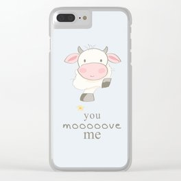 You Move me art print, cow print, art for kids, art for baby, kids room decor, cute art for kids Clear iPhone Case
