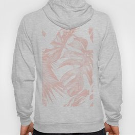 Tropical Leaves Pink and White Hoody