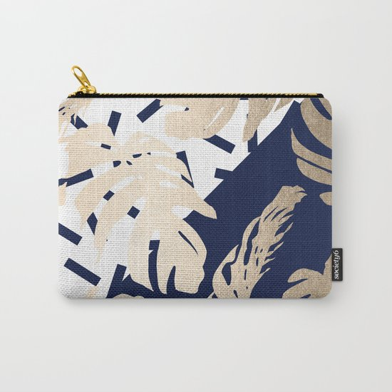 Simply Tropical Nautical Navy Memphis Palm Leaves Carry-All Pouch