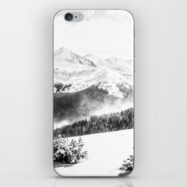 Fresh Snow Dust // Black and White Powder Day on the Mountain iPhone Skin