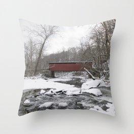 Thomas Mills Covered Bridge, Philadelphia Throw Pillow